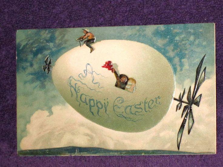 Zeppelin Easter Egg Flying Postcard Illustrated Postal Card New York Germany G | eBay
