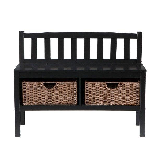 Southern Enterprises Storage Basket Bench Black