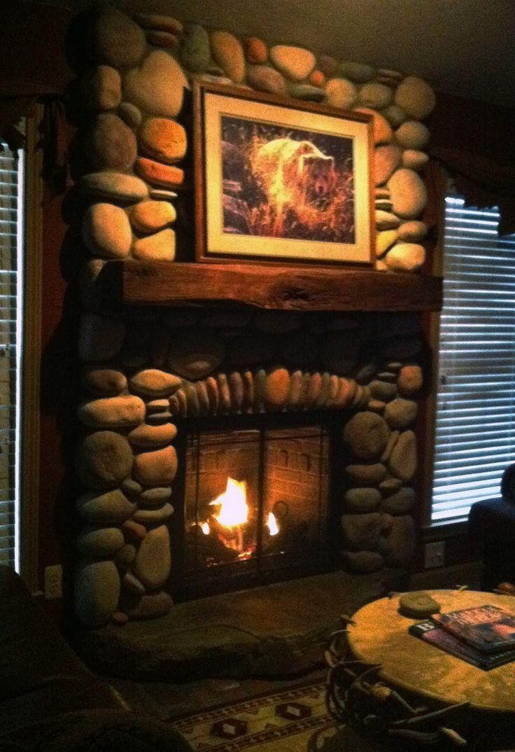 River Rock Fireplace Fireplaces Pinterest
