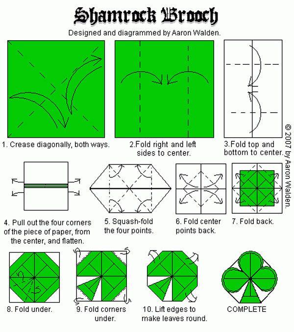 shamrock brooch origami diagrams pinterest