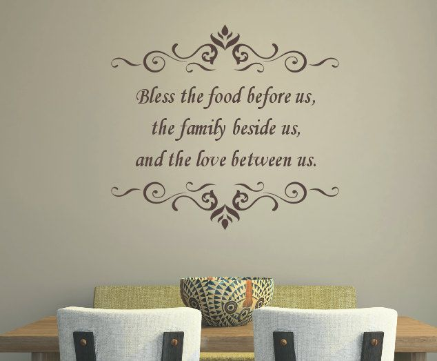 Kitchen Quote Wall Decal  Bless the Food Before Us