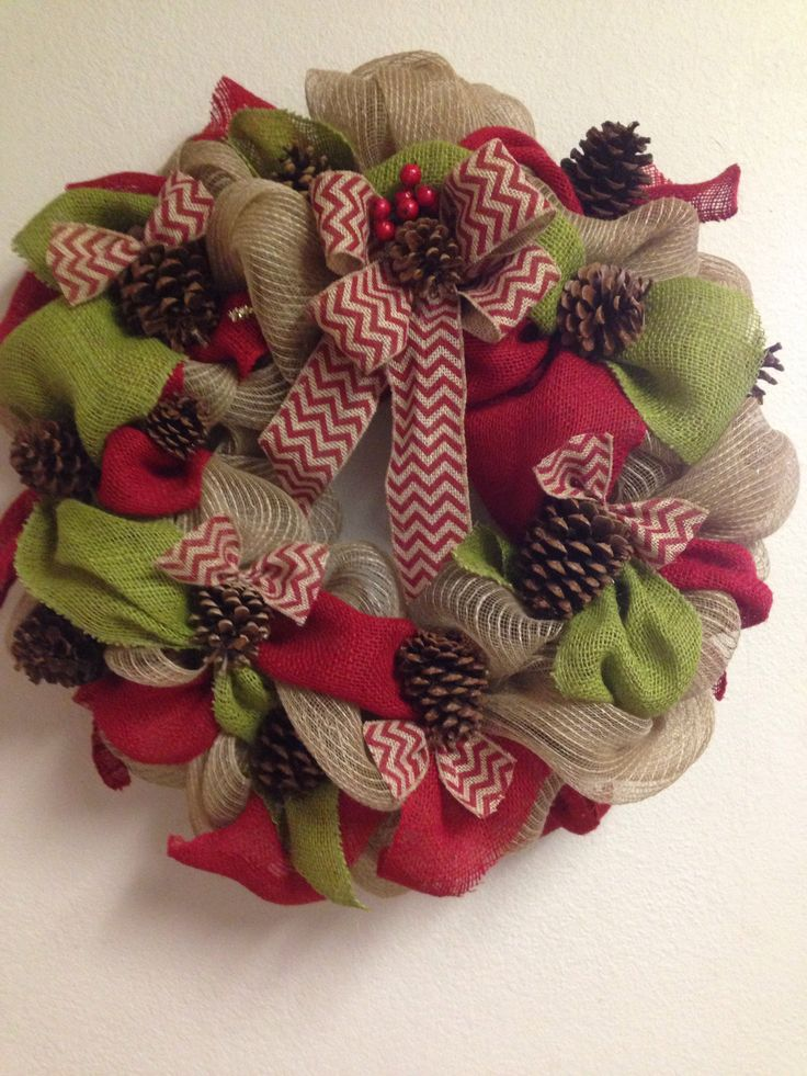 Burlap christmas wreath a riley christmas pinterest Burlap xmas wreath