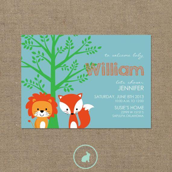 woodland animals baby shower invitation diy printables