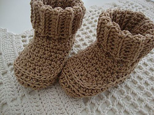 Crochet Cuffed Baby Booties Pattern : Pin by Heather Inama on Crafts - Crocheting Pinterest