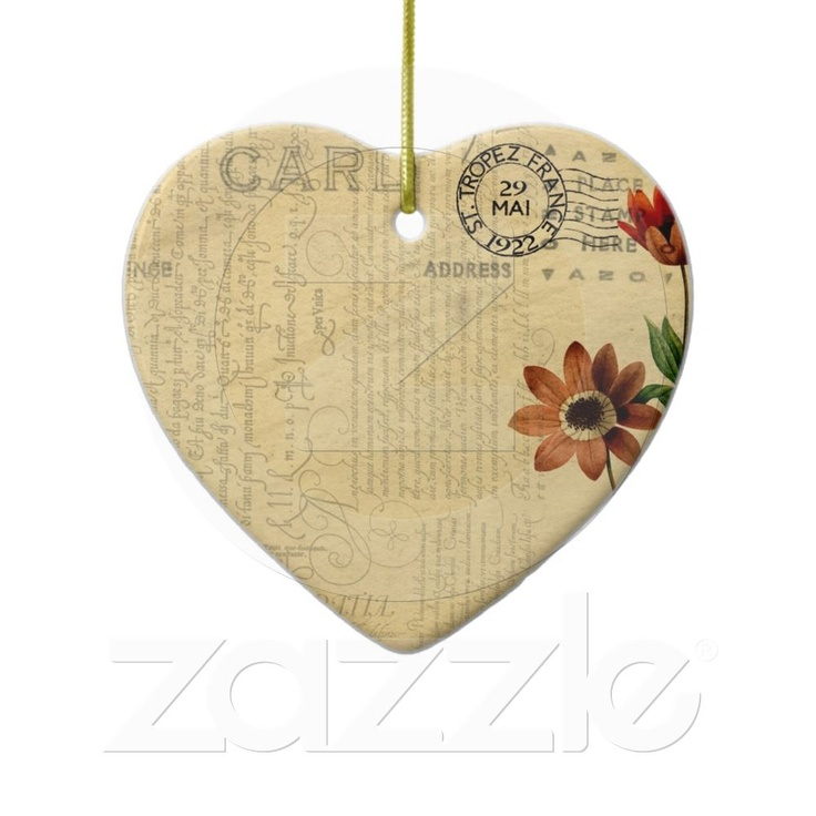 Vintage Postcard heart ornament from Zazzle.com