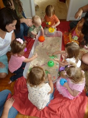Great ideas for a moms and tots book club.  I like that they don't use specialized or hard to find equipment.