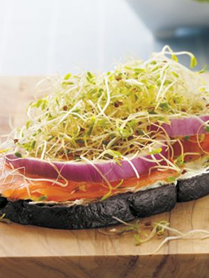 Open-Faced Smoked Salmon Sandwiches -- like the idea of doing this on ...