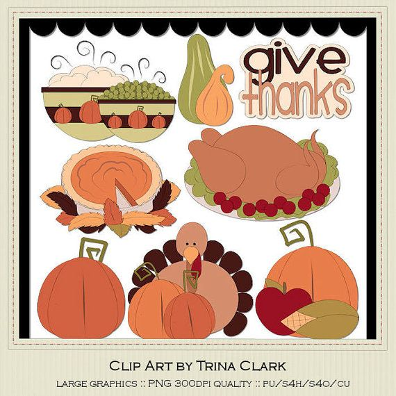 Thanksgiving Holiday Dinner Clip Art Graphics by marlodeedesigns, $1 ...