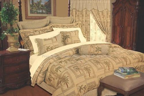 9 Piece Jacquard King Comforter Set Palm Tree Design NRFB