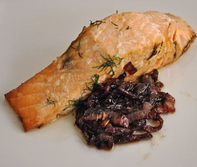 Grilled Salmon with Red Onion Confit | Recipe