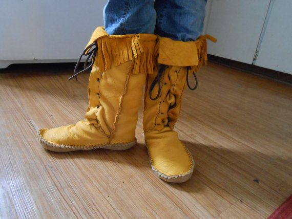 Tall moccasins lace up traditional native american custom handmade