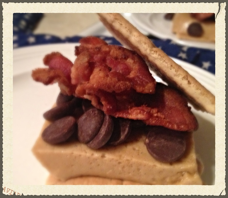 Bacon s'mores featuring Godiva dark chocolate and homemade bourbon ...