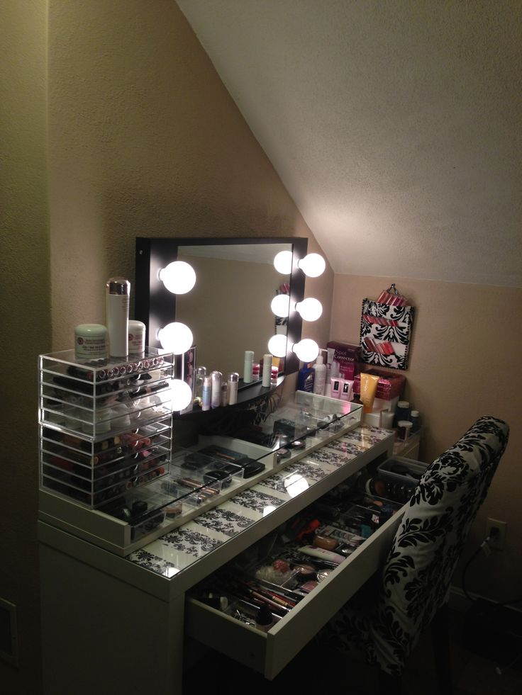 String Lights For Dressing Table : Need more storage? Put Ikea Ekby Gruvan Shelf on top of dresser table for more makeup storage ...