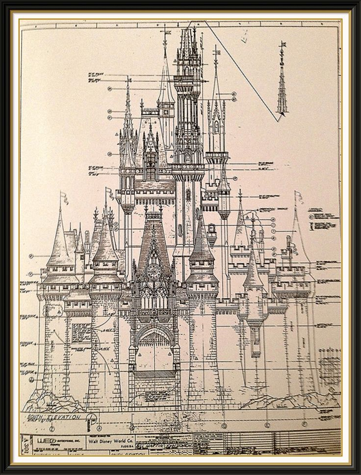 Cinderella Castle Blueprint Poster The
