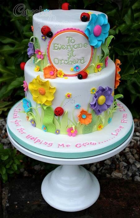 Thank you cake cakes to decorate pinterest for Garden theme cake designs