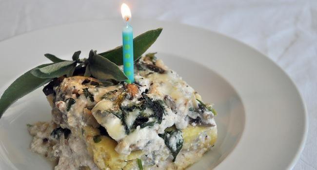 Vegetarianized Recipe: Mushroom and Mustard Green Polenta Lasagna ...