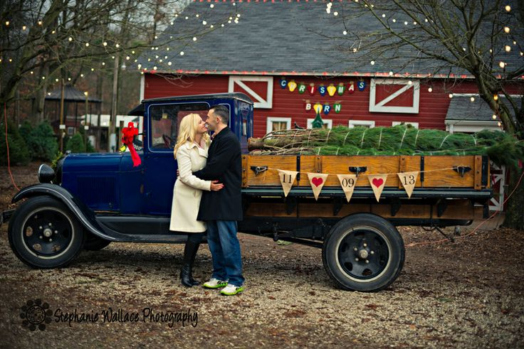 Christmas Tree Farm Engagement Session, Save the Date Photos