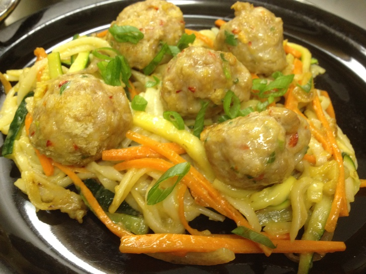 "Shrimp and Pork Thai ""Spaghetti and Meatballs"""