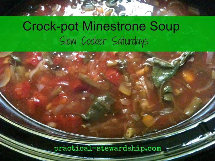 Crock-pot Minestrone Soup @ practical-stewardship.com in the crock