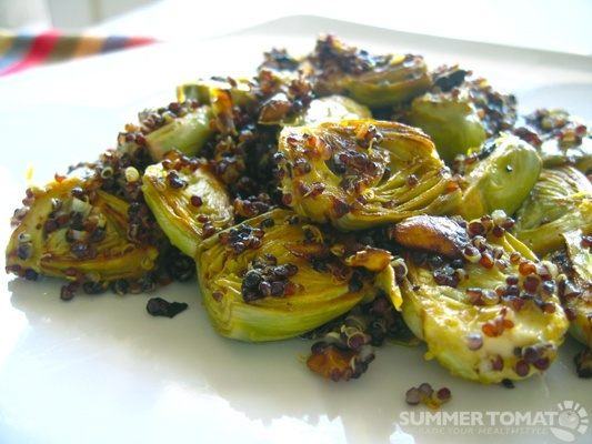 Roasted Baby Artichokes with Pistachios, Lemon, and Black Quinoa