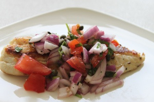 Red Onion, Tomato and Caper Tilapia | _____. It's what for dinner ...