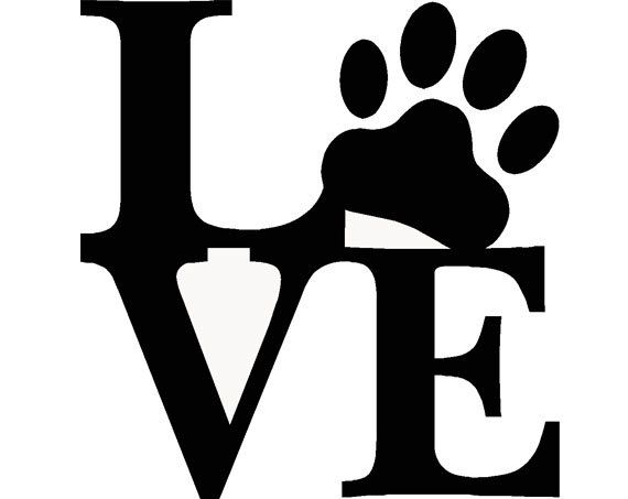 "Pet ""Love"" Paw Print, Dog, Puppy, Living room, Den, Barn, vetenarian, Animal Shelter, Saying quote wall Sticker Vinyl Decal 11.5"" x 12"" on Etsy, $11.99"