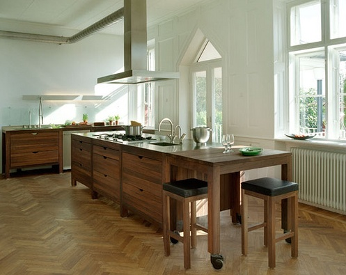 Extra long island herringbone floor kitchen pinterest for Long kitchen island