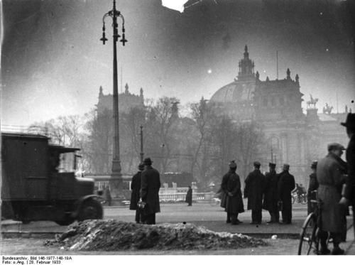 The Reichstag building in the morning after the fire, Berlin, Germany, 28 Feb 1933