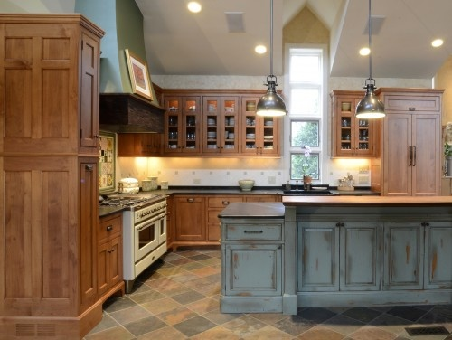 wood cupboards and french gray island  Kitchens  Pinterest