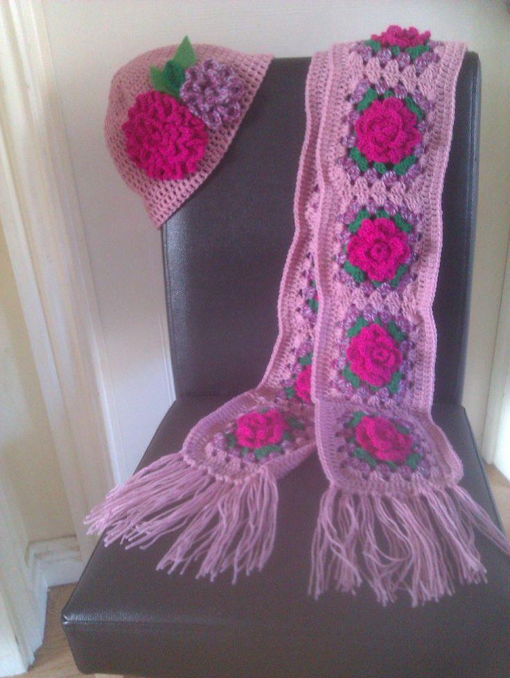 ~ Rose granny crochet scarf  & hat ~