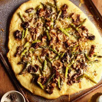 Morel and Asparagus Crispy Pizza | Recipe