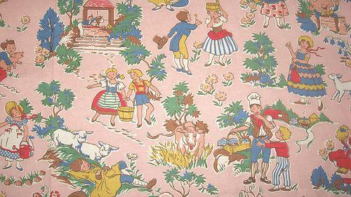 Vintage fabric 1950 39 s nursery rhymes vintage fabric for Retro nursery fabric