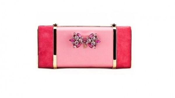 Dsquared2, clutch rosa e magenta con inserti gioiello