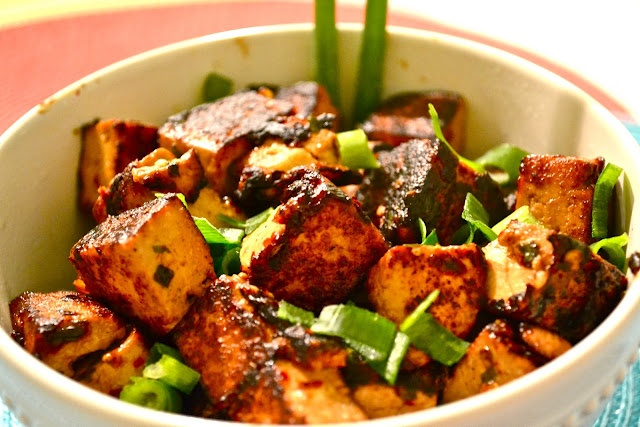 Hot sticky sweet tofu - hoisin sauce, soy sauce, chives, red pepper ...
