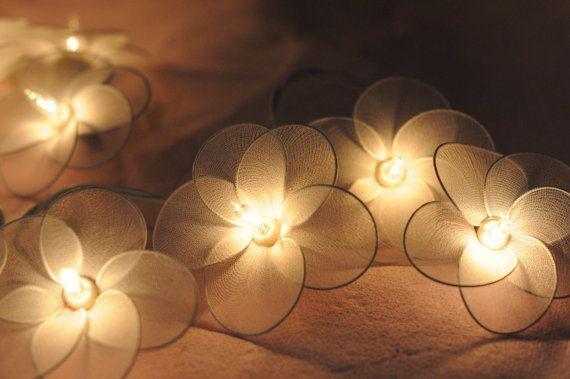handmade string of flower lights for the girls