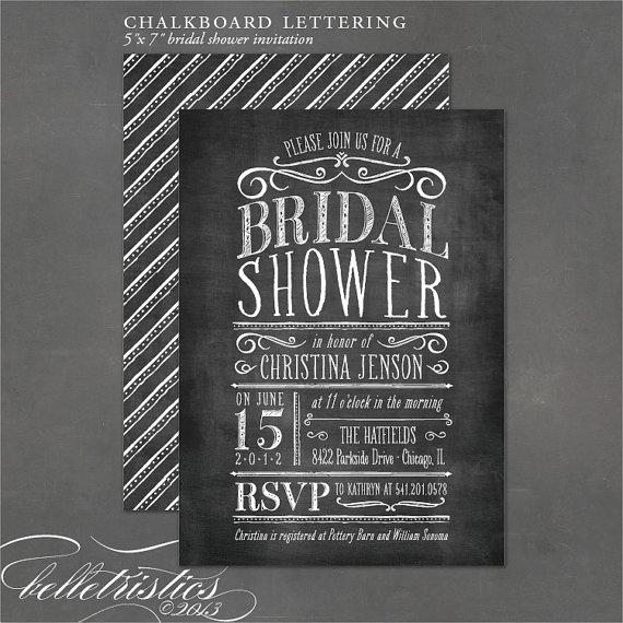 Chalkboard Bridal Shower Invitation, vintage chalkboard lettering ...