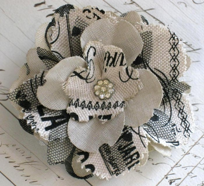 Brenda Walton: Fabric Flower Corsage with fabric flowers from Flora & Fauna