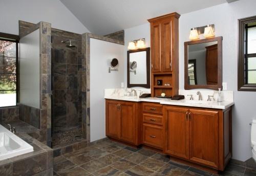 Tipos De Loseta Para Baño:baño con loseta tipo piedra y mueble de madera