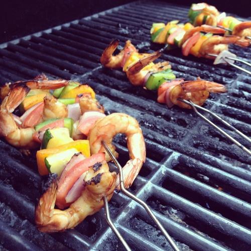 Honey-Pineapple Glazed Shrimp & Veggie Skewers