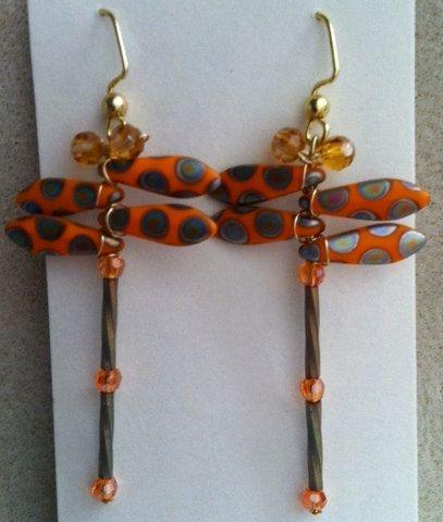 Orange Peacock Bead Dragonfly Earrings by Originalsbydenise, $15.00