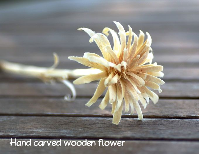Hand carved wooden flower
