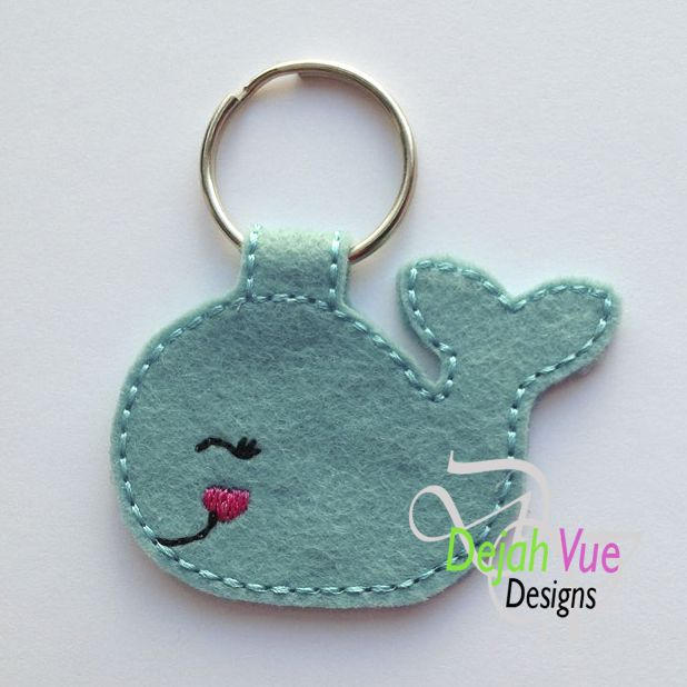 Whale Key Fob ITH Embroidery Design  Machine Embroidery