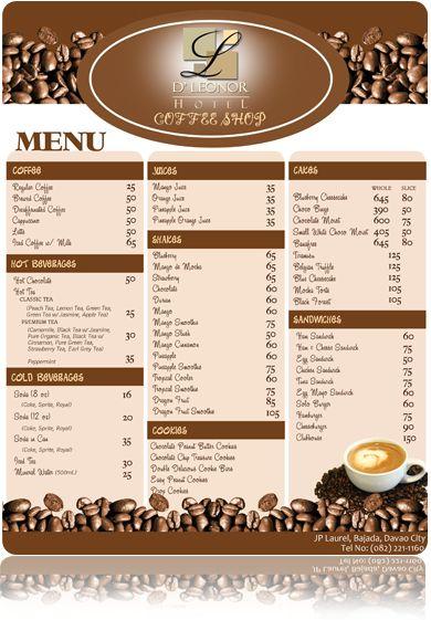 Coffee Shop Menu | Graphic design | Pinterest