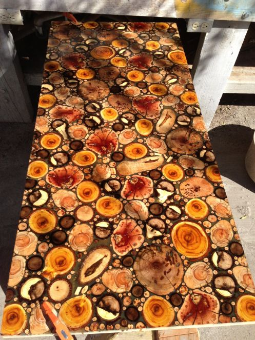Wood Pieces Resin Countertop New House Pinterest