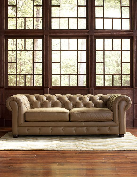 Mad Men style; Tall, dark wood windows #interiordesign | Chester Sofa cort.com