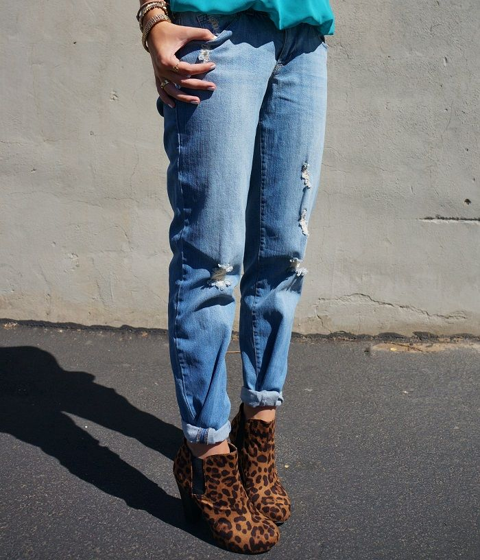 Boyfriend Jeans and Leopard ankle boots | clothes | Pinterest