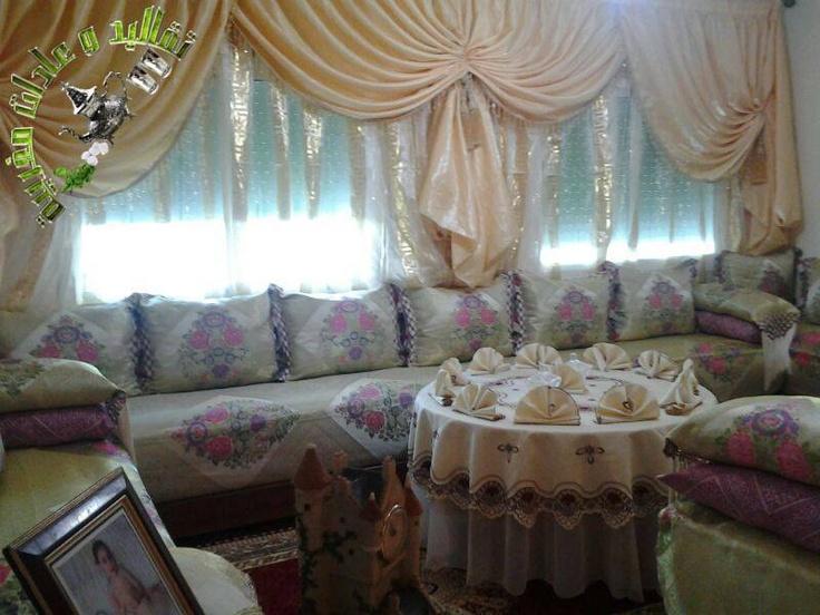 Salon marocain blanc tissu simple ~ Solutions pour la décoration ...