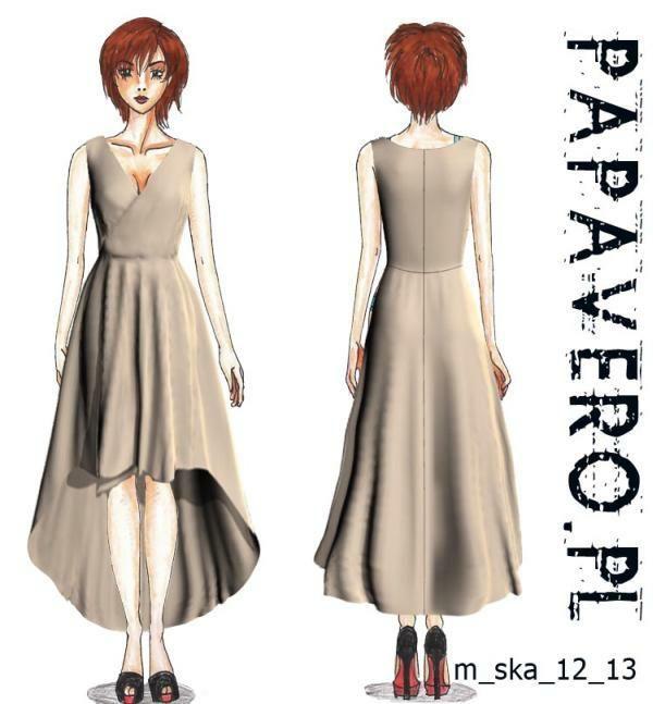 vokuhila kleid tail dress sewing free adult patterns tutorial. Black Bedroom Furniture Sets. Home Design Ideas