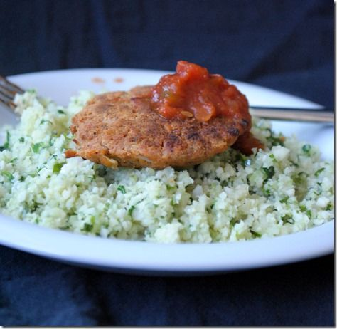 Spicy Salmon Cakes with cilantro cauliflower rice and sals