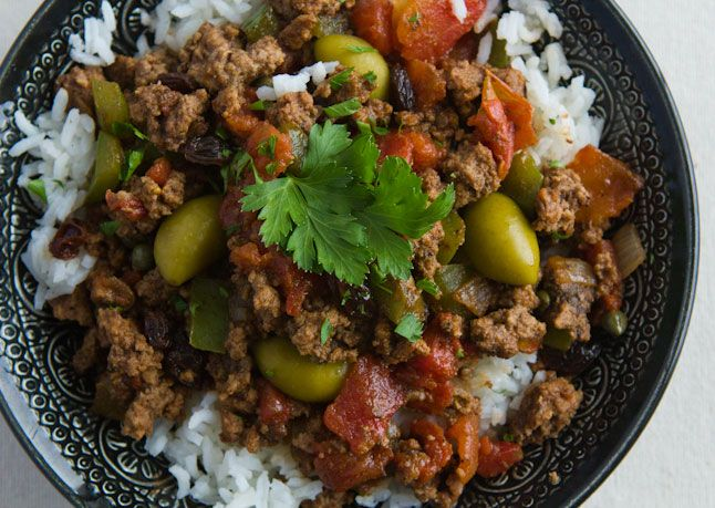 Picadillo Sauté ground beef with chopped onion, chopped green bell ...